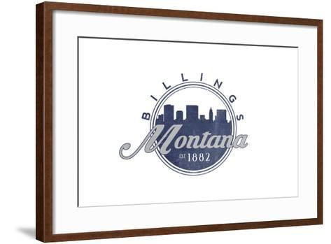 Billings, Montana - Skyline Seal (Blue)-Lantern Press-Framed Art Print