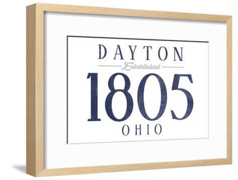 Dayton, Ohio - Established Date (Blue)-Lantern Press-Framed Art Print