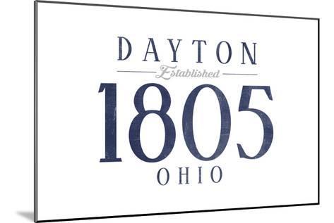 Dayton, Ohio - Established Date (Blue)-Lantern Press-Mounted Art Print