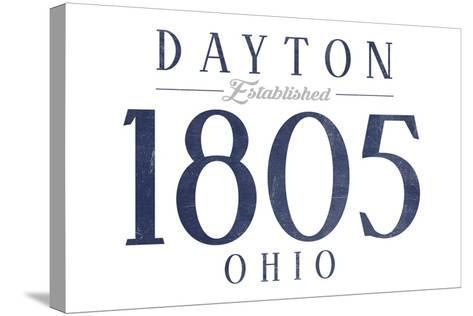 Dayton, Ohio - Established Date (Blue)-Lantern Press-Stretched Canvas Print