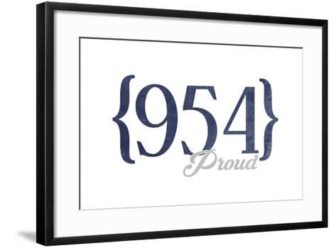 Hollywood, Florida - 954 Area Code (Blue)-Lantern Press-Framed Art Print