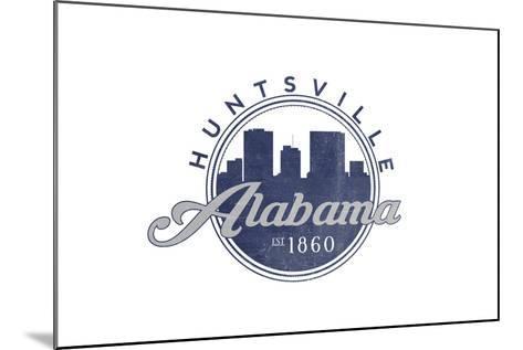 Huntsville, Alabama - Skyline Seal (Blue)-Lantern Press-Mounted Art Print