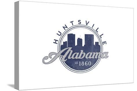 Huntsville, Alabama - Skyline Seal (Blue)-Lantern Press-Stretched Canvas Print
