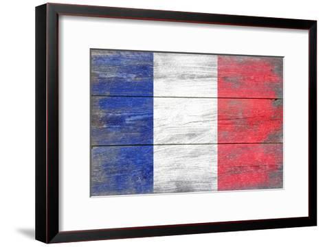 France Country Flag - Barnwood Painting-Lantern Press-Framed Art Print