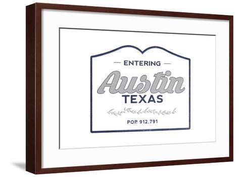 Austin, Texas - Now Entering (Blue)-Lantern Press-Framed Art Print