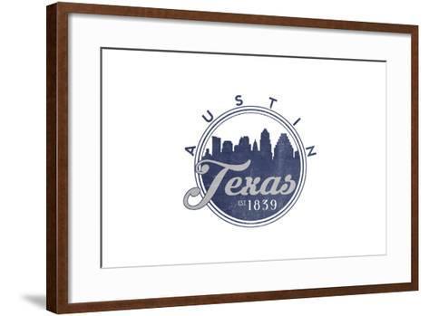 Austin, Texas - Skyline Seal (Blue)-Lantern Press-Framed Art Print