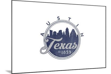 Austin, Texas - Skyline Seal (Blue)-Lantern Press-Mounted Art Print