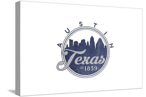 Austin, Texas - Skyline Seal (Blue)-Lantern Press-Stretched Canvas Print