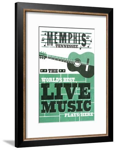 Memphis, Tennessee - Horizontal Guitar - Teal Screenprint-Lantern Press-Framed Art Print