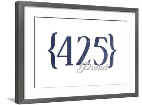 Bellevue, Washington - 425 Area Code (Blue)-Lantern Press-Framed Art Print