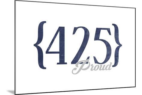 Bellevue, Washington - 425 Area Code (Blue)-Lantern Press-Mounted Art Print
