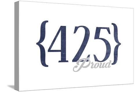 Bellevue, Washington - 425 Area Code (Blue)-Lantern Press-Stretched Canvas Print
