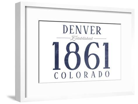 Denver, Colorado - Established Date (Blue)-Lantern Press-Framed Art Print