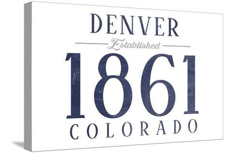 Denver, Colorado - Established Date (Blue)-Lantern Press-Stretched Canvas Print