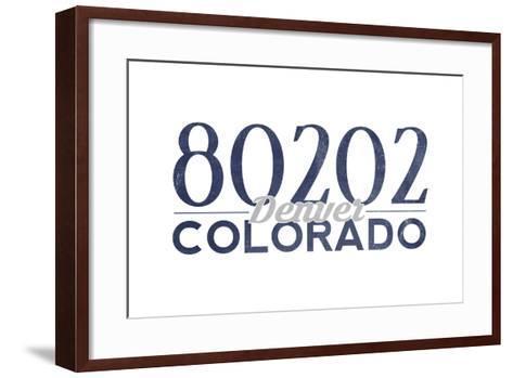 Denver, Colorado - 80202 Zip Code (Blue)-Lantern Press-Framed Art Print