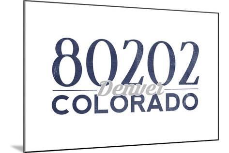 Denver, Colorado - 80202 Zip Code (Blue)-Lantern Press-Mounted Art Print