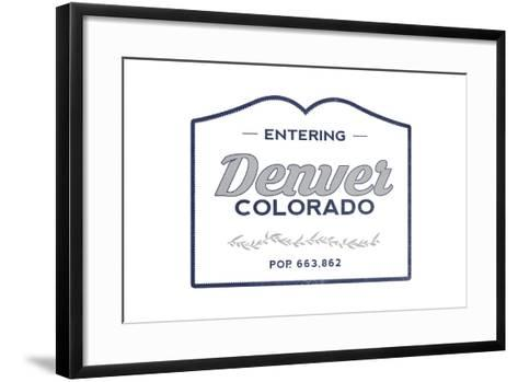Denver, Colorado - Now Entering (Blue)-Lantern Press-Framed Art Print