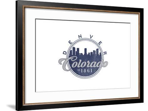Denver, Colorado - Skyline Seal (Blue)-Lantern Press-Framed Art Print