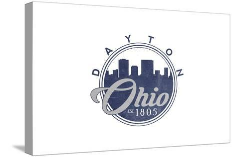 Dayton, Ohio - Skyline Seal (Blue)-Lantern Press-Stretched Canvas Print