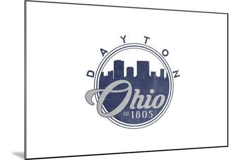 Dayton, Ohio - Skyline Seal (Blue)-Lantern Press-Mounted Art Print