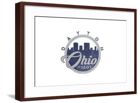 Dayton, Ohio - Skyline Seal (Blue)-Lantern Press-Framed Art Print