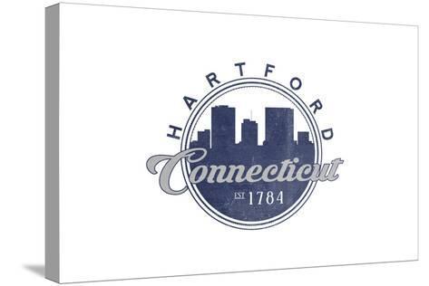 Hartford, Connecticut - Skyline Seal (Blue)-Lantern Press-Stretched Canvas Print