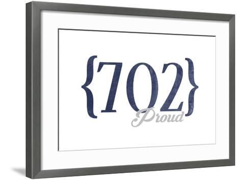 Henderson, Nevada - 702 Area Code (Blue)-Lantern Press-Framed Art Print