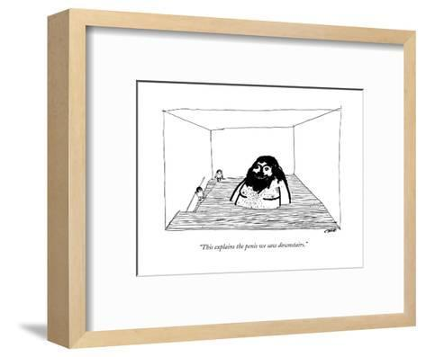 """This explains the penis we saw downstairs."" - New Yorker Cartoon-Edward Steed-Framed Art Print"