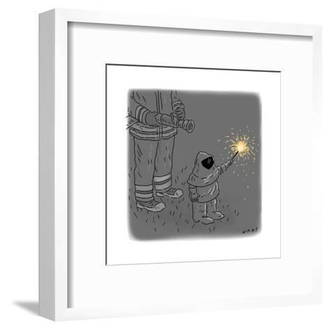 Sparkler Safety - Cartoon-Kim Warp-Framed Art Print