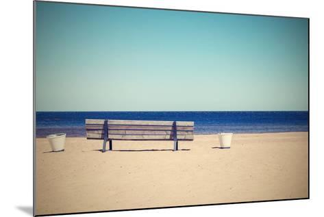 Wooden Retro Bench on the Sandy Beach Seashore-malven-Mounted Photographic Print