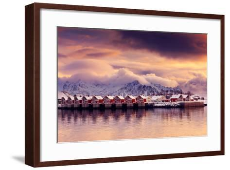 Sunset on Svolvaer-Philippe Sainte-Laudy-Framed Art Print