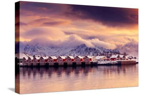Sunset on Svolvaer-Philippe Sainte-Laudy-Stretched Canvas Print