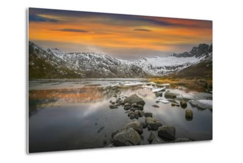 Lofoten Warm Sunset-Marco Carmassi-Metal Print