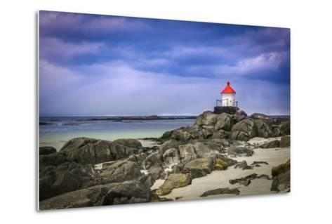 Lighthouse on Rocks-Marco Carmassi-Metal Print
