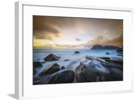 Uttakleiv Beach Before Sunset-Marco Carmassi-Framed Art Print
