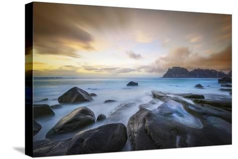 Uttakleiv Beach Before Sunset-Marco Carmassi-Stretched Canvas Print