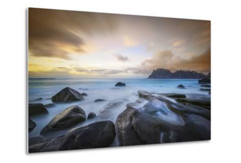 Uttakleiv Beach Before Sunset-Marco Carmassi-Metal Print