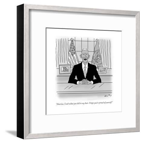 """""""America. Look what you did to my hair. I hope you're proud of yourself."""" - Cartoon-Kim Warp-Framed Art Print"""