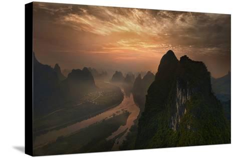 Dawn At Li River-Mieke Suharini-Stretched Canvas Print