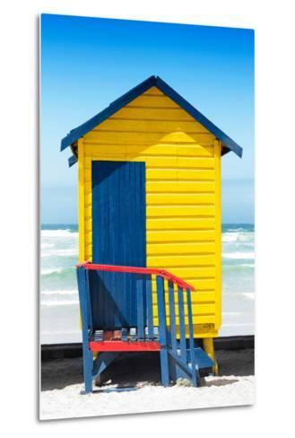 Awesome South Africa Collection - Colorful Beach Hut Cape Town - Yellow & Minight Blue-Philippe Hugonnard-Metal Print