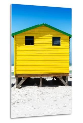 Awesome South Africa Collection - Colorful Beach Hut - Yellow & Skyblue-Philippe Hugonnard-Metal Print