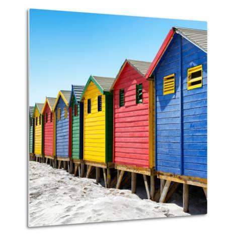 Awesome South Africa Collection Square - Colorful Beach Huts at Muizenberg - Cape Town III-Philippe Hugonnard-Metal Print
