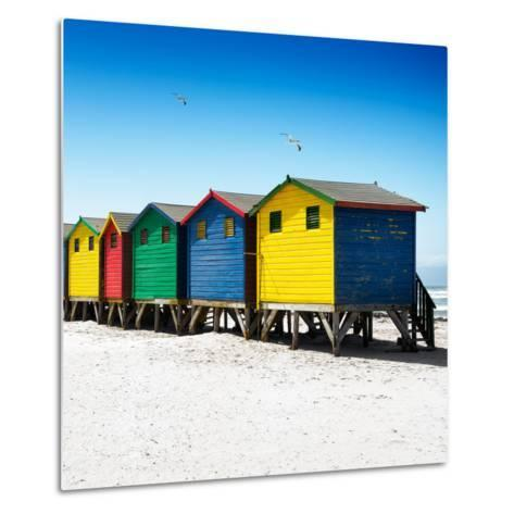 Awesome South Africa Collection Square - Colorful Beach Huts at Muizenberg - Cape Town VI-Philippe Hugonnard-Metal Print