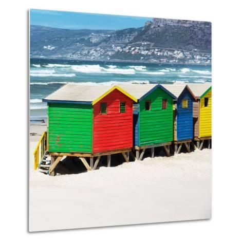 Awesome South Africa Collection Square - Colorful Beach Huts - Cape Town II-Philippe Hugonnard-Metal Print