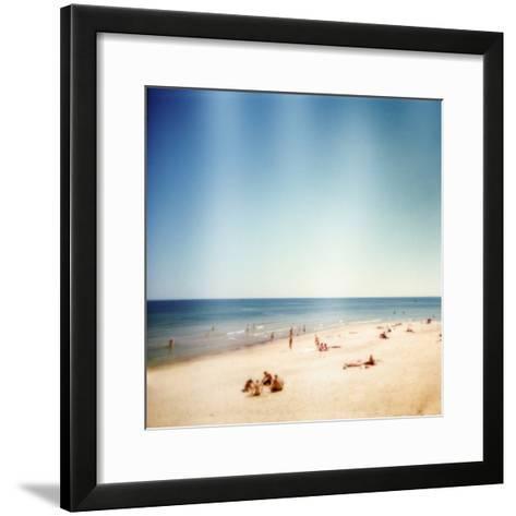Designed Retro Photo: Sunny Day on the Beach-donatas1205-Framed Art Print