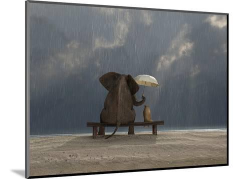 Elephant And Dog Sit Under The Rain-Mike_Kiev-Mounted Photographic Print