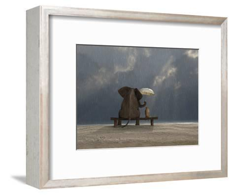 Elephant And Dog Sit Under The Rain-Mike_Kiev-Framed Art Print