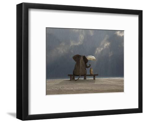 Elephant And Dog Sit Under The Rain-Mike_Kiev-Framed Art Print