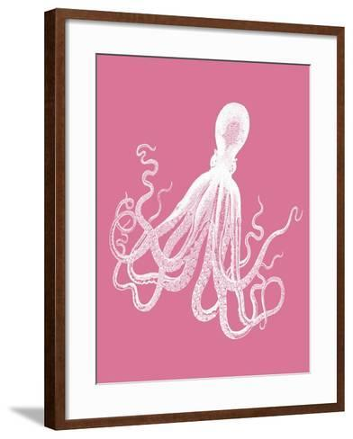 Octopus 1 White on Pink-Fab Funky-Framed Art Print