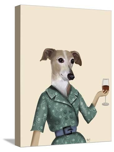 Greyhound Wine Snob-Fab Funky-Stretched Canvas Print